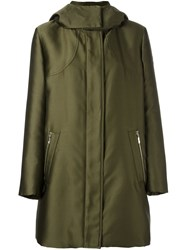 Moncler Gamme Rouge High Neck Hooded Coat Green