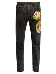 Gucci Floral Embroidered Slim Leg Jeans Dark Grey