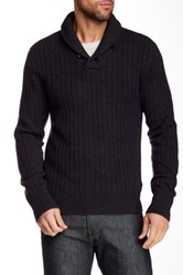 Relwen Shawl Collar Ribbed Wool Sweater Gray