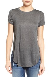 Junior Women's Bp. Side Slit Tee Grey Medium Charcoal Heather