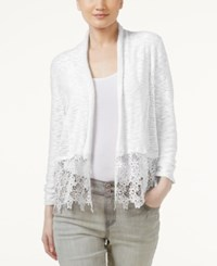 Inc International Concepts Lace Trim Cardigan Only At Macy's White