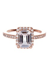 Rose Gold Plated Sterling Silver Asscher Cut Cz Ring No Color