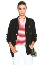 Comme Des Garcons Play Wool Red Heart Emblem Cardigan In Black