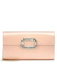 Roger Vivier Evening Envelope Satin Clutch Pink
