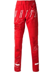 Off White Striped Distressed Trousers Red
