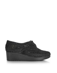 Robert Clergerie Vicole Black Woven Raffia Platform Derby Shoes