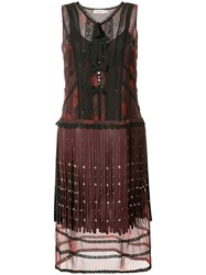 Coach Layered Fringe Dress Women Silk Lizard Skin Polyamide Cupro 4