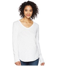 Dylan By True Grit Soft Slub Long Sleeve V Neck Tee With Rib Detail White Long Sleeve Pullover