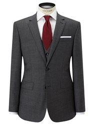 John Lewis Sharkskin Super 100S Wool Regular Fit Suit Jacket Mid Grey
