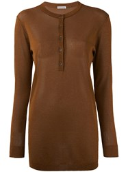 Tomas Maier Long Sleeved Top Women Polyester Viscose 6 Brown