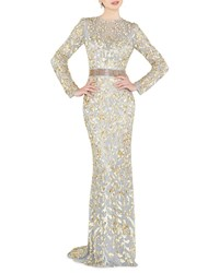 Mac Duggal Sequin High Neck Long Sleeve Illusion Gown W Open Back Platinum Gold