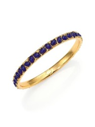 Kenneth Jay Lane Cabochon Cluster Thin Bangle Bracelet Gold Blue