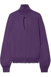 Tom Ford Cutout Cashmere And Silk Blend Turtleneck Sweater Purple