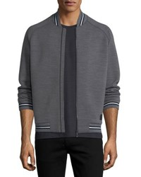Zegna Sport Techmerino Striped Bomber Jacket Medium Gray