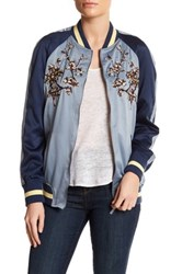 Max Studio Embroidered Bomber Jacket Blue