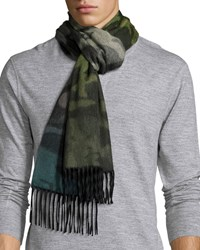 Begg And Co Nuance Camouflage Cashmere Scarf W Fringe Green