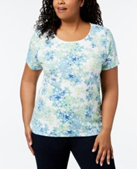 Karen Scott Plus Size Printed T Shirt Lime Twist