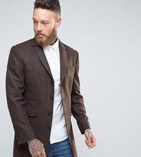 Heart And Dagger Overcoat In Tobacco Brown