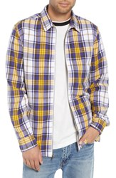 The Rail Zip Front Flannel Shirt Jacket White Yellow Plaid