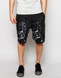 Religion Jersey Shorts With Snake Print Set Black