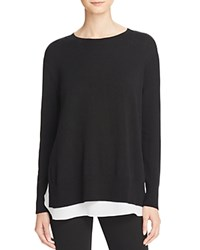 Bloomingdale's C By Layered Look Cashmere Sweater Black Snow