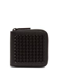 Christian Louboutin Panettone Spike Embellished Square Leather Wallet Black