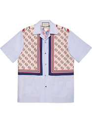 Gucci Oxford Cotton And Silk Bowling Shirt Blue