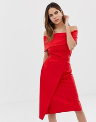 Oasis Bardot Midi Dress Red