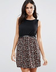 Pussycat London Leopard Print Skater Dress Black
