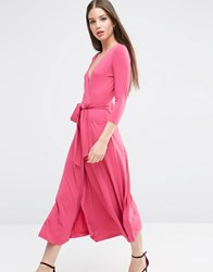 Asos Wrap Maxi Dress In Jersey Crepe Raspberry Pink