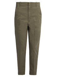 Vince Cotton Blend Mid Rise Tapered Trousers Khaki