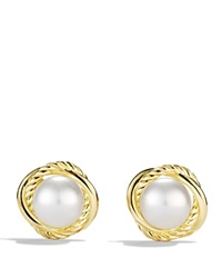 David Yurman Infinity Earrings With Pearls In Gold White Gold