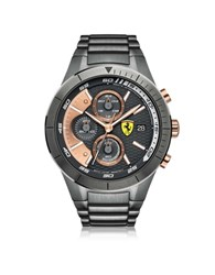 Ferrari Red Rev Evo Gun Metal Stainless Steel Men's Chrono Watch Silver