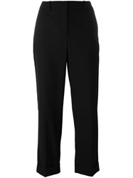 Theory Loose Fit Cropped Trousers Black