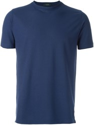 Zanone Round Neck T Shirt Blue
