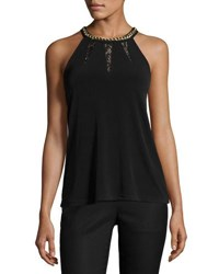 Michael Michael Kors Chain Trim Halter Neck Top Black