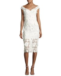 Milly Mari Cap Sleeve 3D Floral Cocktail Dress White