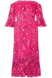 Marchesa Notte Off The Shoulder Guipure Lace Dress Fuchsia