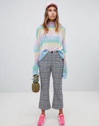 Lazy Oaf Check Kick Flare Trousers With Bow Pocket Detail Grey Multi