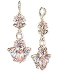 Givenchy Gold Tone Rose And Mauve Crystal Chandelier Earrings