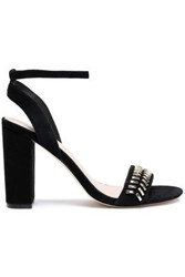 Sandro Embellished Suede Sandals Black