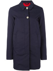 Woolrich Buttoned Mid Coat Blue