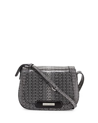 Charles Jourdan Winnie 3 Snake Embossed Leather Crossbody Bag Black White