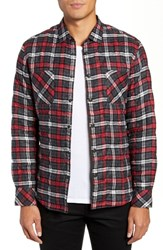 Good Man Brand Slim Fit Cotton Plaid Shirt Jacket Charcoal