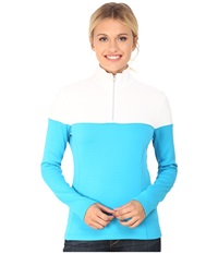 Spyder Etna Therma Stretch T Neck Riviera White Women's Long Sleeve Pullover Blue