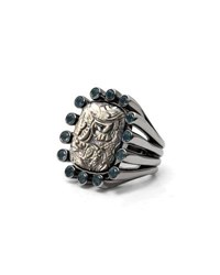 Stephen Dweck Carved Gray Mother Of Pearl Ring With Blue Topaz