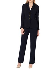 Tahari By Arthur S. Levine Petite Two Piece Three Buttoned Jacket And Pants Suit Navy