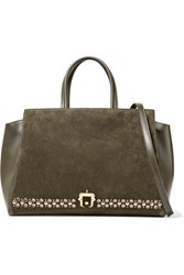 Paula Cademartori Bea Embellished Suede Paneled Leather Tote Army Green
