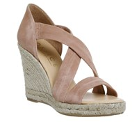 Office Holiday Cross Front Espadrille Wedges Nude