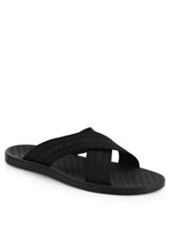 Giorgio Armani Rubber Criss Cross Sandals Black